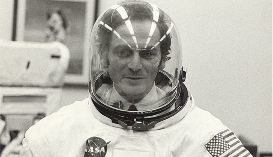 Pierre Cardin in an Astronaute suit